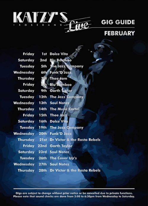 Gig Guide Katzy's Live for February 2019