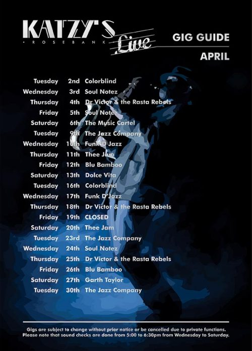 Gig Guide April 2019 at Katzy's Live