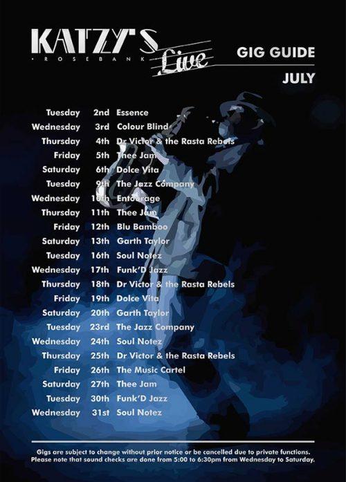 Gig guide July 2019 Katzy's Live Rosebank