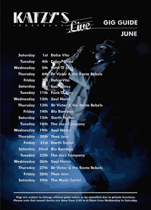 Gig Guide Katzy's Live for June 2019