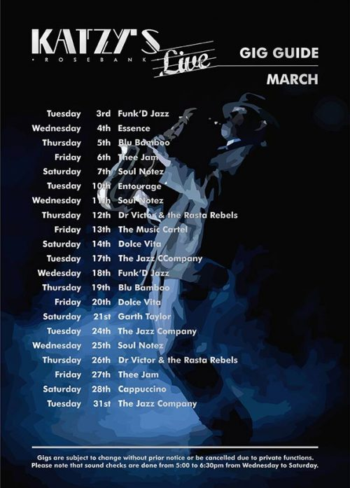 Gig Guide March 2020 Katzy's Live