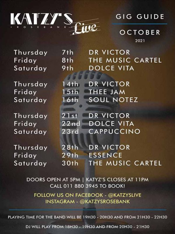 October 2021 Gig Guide at Katzy's Live